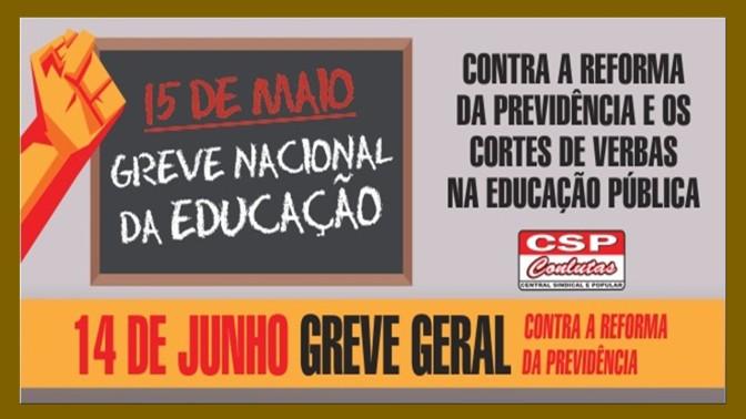 CSP-Conlutas manifesta total apoio à Greve Nacional da Educação em 15 de maio